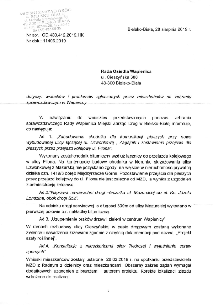 wnioski i problemy dzwonkowa filona mazurska
