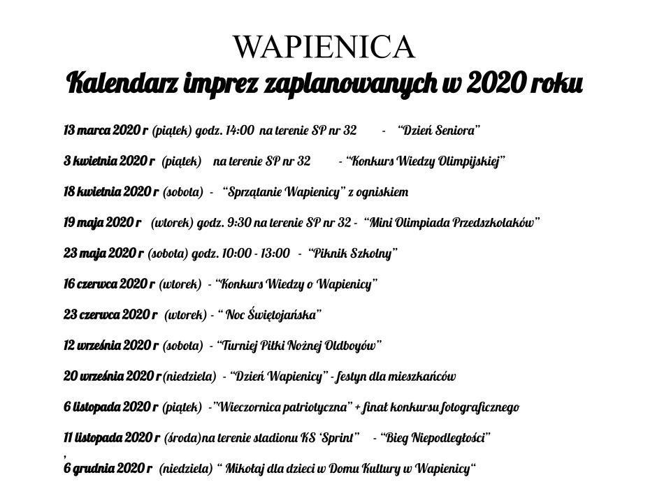imprezy RO Wapienica 2020